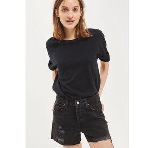 Topshop Moto ripped black denim shorts sz8